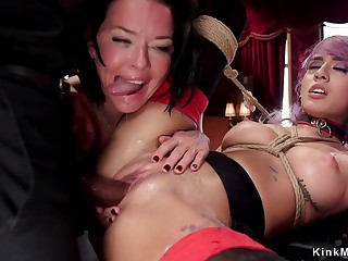Master sodomized fucks and fists two slaves