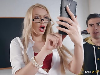 A student loses bachelorhood with hot big boobed teacher Amber Jayne