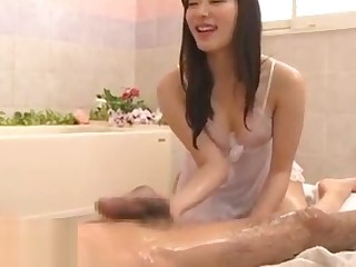 Japanese massage with beautiful oiled tot